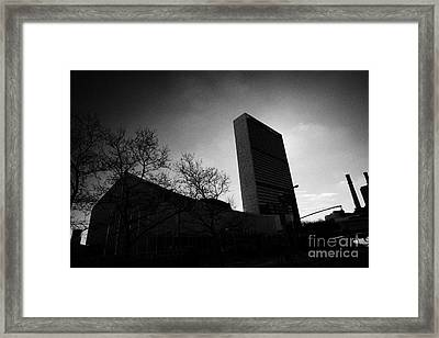 The United Nations Building Backlit New York City Framed Print by Joe Fox