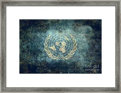 The United Nations Flag  Vintage Version Framed Print