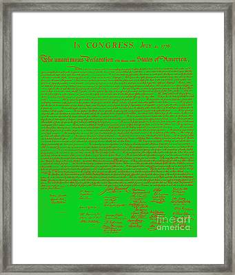 The United States Declaration Of Independence 20130215 Framed Print by Wingsdomain Art and Photography