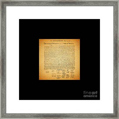 The United States Declaration Of Independence - Square Black Border Framed Print by Wingsdomain Art and Photography