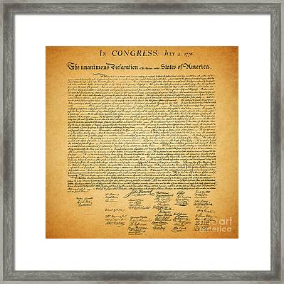 The United States Declaration Of Independence - Square Framed Print by Wingsdomain Art and Photography