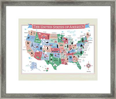 The United States Of America Map Framed Print by Karen Young