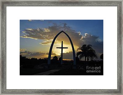 The Universal Cross At Sunrise Framed Print by Bob Sample