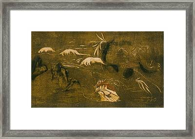 The Universe Is Created Framed Print by Paul Gauguin