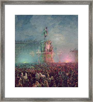 The Unveiling Of The Nicholas I Memorial In St. Petersburg Framed Print by Vasili Semenovich Sadovnikov
