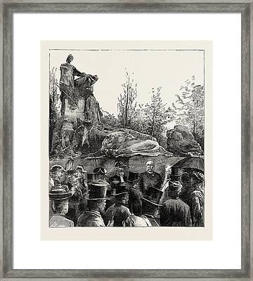 The Unveiling Of The Waterloo Monument In The Evere Cemetery Framed Print