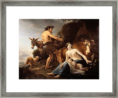 The Upbringing Of Zeus Framed Print by Nicolaes Pietersz Berchem