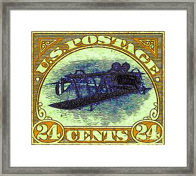 The Upside Down Biplane Stamp - 20130119 - V3 Framed Print by Wingsdomain Art and Photography