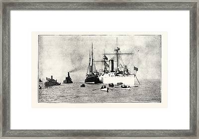 The U.s. Cruiser Charleston Receiving On Board The King Framed Print by English School