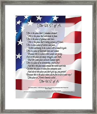 Framed Print featuring the digital art The U.s.a. Flag Poetry Art  by Stanley Mathis