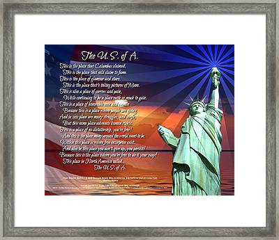 Framed Print featuring the digital art The Usa Statue Of Liberty Poetry Art  by Stanley Mathis