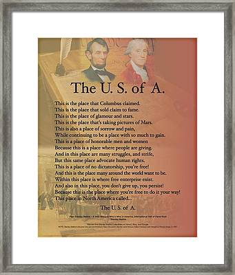 Framed Print featuring the digital art The Usa Presidents Lincoln Washington Poetry Art  by Stanley Mathis
