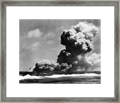 The Uss Wasp Burning Framed Print by Everett