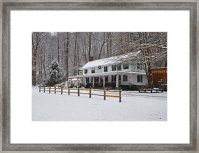 The Valley Green Inn In The Snow Framed Print