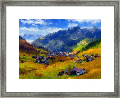 The Valley Of Blue And Gold Framed Print by Georgiana Romanovna