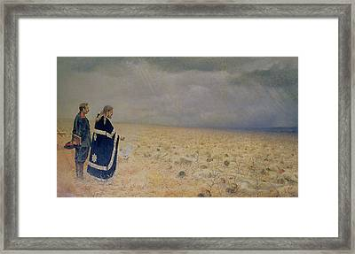 The Vanquished.  Requiem For The Dead, 1878-79 Oil On Canvas Framed Print by Vasili Vasilievich Vereshchagin