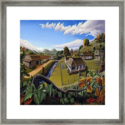 The Veon's Farm Life Country Landscape - Square Format Framed Print by Walt Curlee