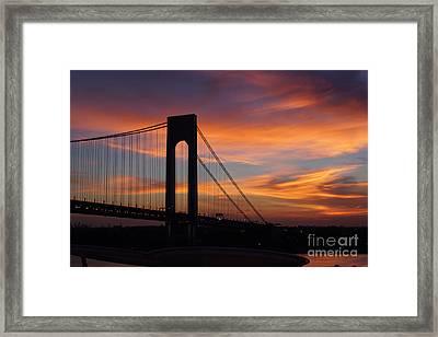 The Verrazano-narrows Bridge St Sunrise Framed Print