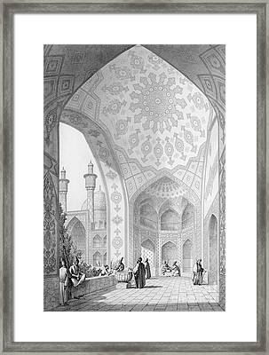 The Vestibule Of The Main Entrance Of The Medrese I Shah-hussein Framed Print by Pascal Xavier Coste