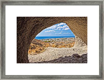 the view of Perissa Framed Print