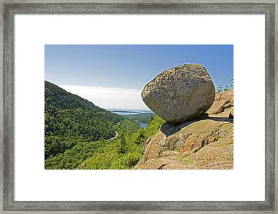 The View With A Large Boulder Framed Print