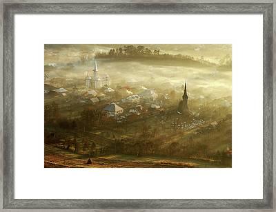 The Village Born From Fog... Framed Print