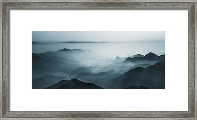 The Village In The Morning Mist Framed Print