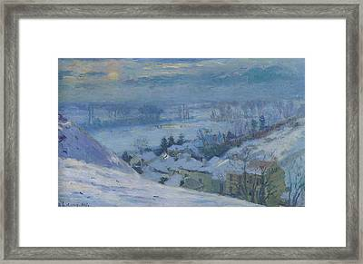 The Village Of Herblay Under Snow Framed Print