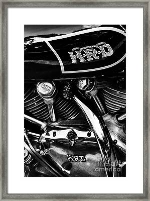 The Vincent Hrd Motorcycle Monochrome Framed Print by Tim Gainey