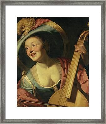 The Viola Da Gamba Player Framed Print by Dutch School