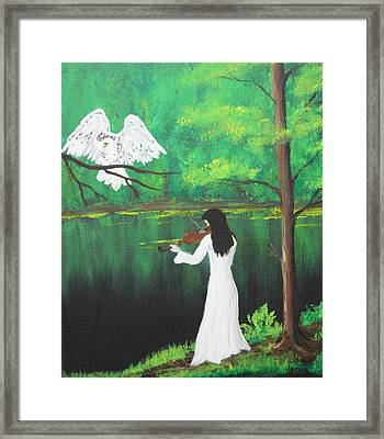 The Violinist By The River   Framed Print