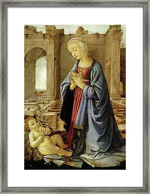 The Virgin Adoring The Christ Child The Ruskin Madonna Framed Print by Andrea del Verrocchio