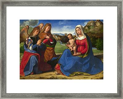 The Virgin And Child Adored By Two Angels Framed Print by Andrea Previtali