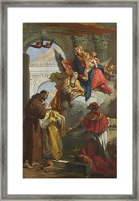 The Virgin And Child Appearing To A Group Of Saints Framed Print by Giovanni Battista Tiepolo
