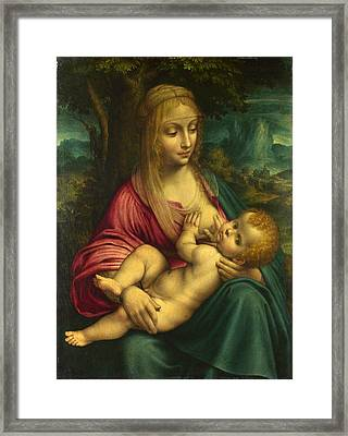 The Virgin And Child Framed Print by Follower of Leonardo da Vinci