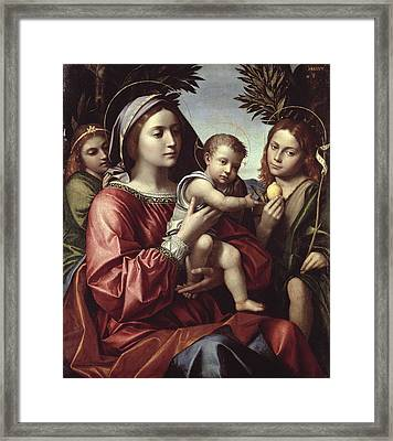 The Virgin And Child, Saint John The Baptist And An Angel Framed Print by Paolo Morando