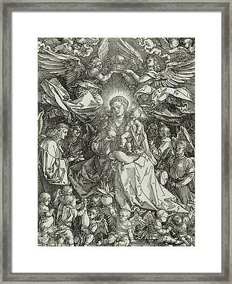The Virgin And Child Surrounded By Angels Framed Print by Albrecht Durer or Duerer