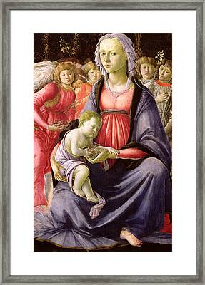 The Virgin And Child Surrounded By Five Angels Framed Print by Sandro Botticelli
