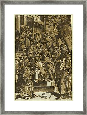 The Virgin And Child Surrounded By Saints And Kneeling Donor Framed Print