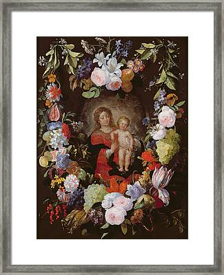 The Virgin And Child With A Garland Of Flowers Oil On Panel Framed Print by Gerard Seghers