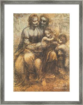 The Virgin And Child With Saint Anne And The Infant Saint John The Baptist Framed Print by Leonardo Da Vinci