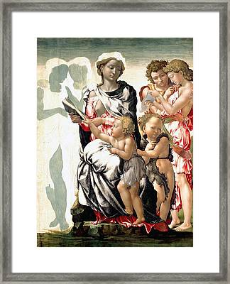 The Virgin And Child With Saint John And Angels Framed Print by Michelangelo Buonarroti