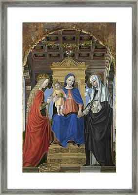 The Virgin And Child With Saints Framed Print by Ambrogio Bergognone