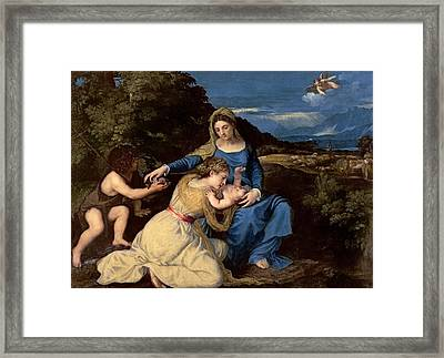 The Virgin And Child With Saints Framed Print by Titian