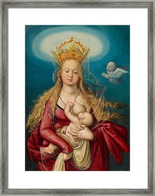 The Virgin As Queen Of Heaven Suckling The Infant Christ Framed Print by Hans Baldung Grien