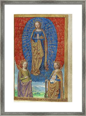 The Virgin In A Cloud Of Angels, With Saints Barbara Framed Print by Litz Collection