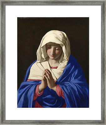 The Virgin In Prayer Framed Print by Sassoferrato