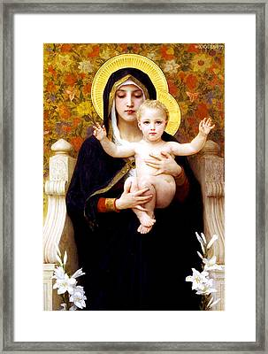 The Virgin Of The Lilies Framed Print