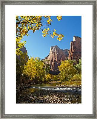 The Virgin River And The Court Of The Patriarchs Framed Print by Alex Cassels