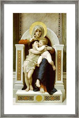 The Virgin The Baby Jesus And Saint John The Baptist Framed Print by William Bouguereau